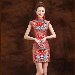 Dragons orientaux en Ligne-Robe traditionnelle chinoise Qipao Rouge Moderne Cheongsam Mini Robe Costume de Chine Dragon Oriental Qi Pao Robe de mariée Vintage QL