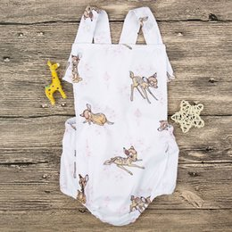 Wholesale Infants Suspenders - aby Deer Print Suspender Rompers Summer 2018 Baby Boutique Clothing Euro America Hot Sale INS Infant Toddlers Deer Rompers