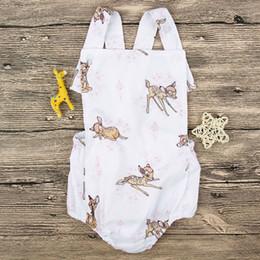 Wholesale Toddler Girls Suspenders - aby Deer Print Suspender Rompers Summer 2018 Baby Boutique Clothing Euro America Hot Sale INS Infant Toddlers Deer Rompers