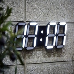 Wholesale Watch Digital Led Wall - LED Rectangular 3D Digital Clock Table Alarm Watch 24 or 12 Hour Display Home Wall Decoration Clock