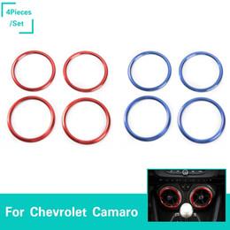 ajuste interior Desconto Saída de ar condicionado bezel fit para Chevrolet Camaro liga de Alumínio 2 cores 4 pçs / set Acessórios Interiores Do Carro