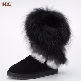 Wholesale Fox Fur Boots - INOE real fox fur tassels sheepskin leather sheep fur lined fashion suede winter snow boots for women winter shoes black brown