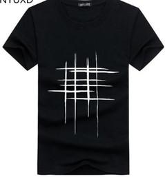 Camisas de diseño de forro online-2018 nueva línea de diseño creativo simple cruz Imprimir camisetas de algodón nueva llegada de los hombres estilo verano camiseta de los hombres de manga corta