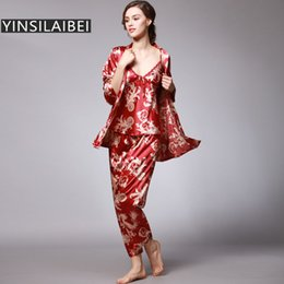 e4c26f6ec9 YINSILAIBEI Women Satin Sleepwear Female Silk Pajama Sets Ladies Pyjamas  Plus Size Dragon Print Women Home Clothing Homewear  10 S1015
