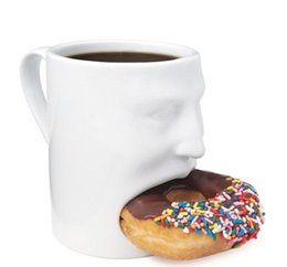 Wholesale Biscuit Holder - Wholesale- Liquid Master Face Mug - Ceramic Cookies mug Dunk Mug with Biscuit holder Creative Two Functions Gift