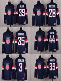 Wholesale Usa Olympics Hockey Jersey - Cheap 2014 Olympics Sochi Team USA 39 Ryan Miller 44 Brooks Orpik 3 Cam Fowler Blake Wheeler Jimmy Howard Blue American Hockey Jerseys