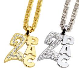 Wholesale Vintage Singer - 2018 I Fashion Gold Silver Hip Hop Vintage rap singer letter Pendant Necklace Bling Hip Hop Crystal Jewelry For Men Women