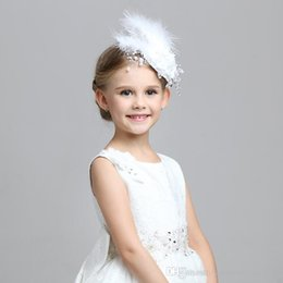Wholesale Wedding Hair Flower Pieces - New Arrival Children Hair Accessories Handmade Flower Performance Head Pieces For Girls Wedding Junior Bridesmaid Kids Clips In Stock