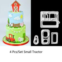 Мультяшный торт онлайн-4 pcs/set Baking Tool Cute Cartoon Car shape Cuer Plastic Fondant Cuer Cake Mold Fondant Cupcake Decorating Tools