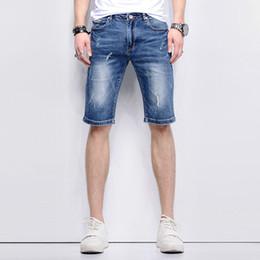 2019 männer holey jeans 2018 Sommer neue Mode Vintage Denim Loch zerrissen Holey Cowboys engen Fit Oberschenkel Shorts Herren Jeans kurze Hosen für Männer günstig männer holey jeans