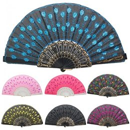 Wholesale Lace Fans Flowers - New Embroidered Sequins Hand Lace Flower Folding Fan Spanish Style Dancing Wedding Party Decor Plastic Hand Fans
