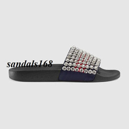 Wholesale Womens Moccasins Slippers - new arrival 2018 new style mens and womens fashion slippers boys girls crystal-embellished leather and rubber slides flip flops