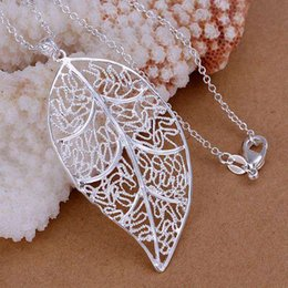 dd442d94b06b todo salefine colgante plateado plata 925-sterling-silver jewelry brillante  hoja colgantes collar para mujeres hombres + cadena SP187