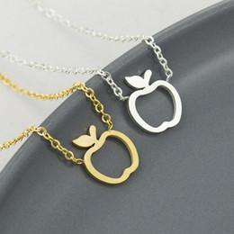 colar de maçã de ouro Desconto 10 pcs simples apple colar de aço inoxidável de frutas pingente colares para crianças presente do partido cor de ouro mulheres moda jóias