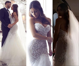 Discount sweetheart tier mermaid wedding dress - 2018 Arabic Dubai Plus Size Mermaid Wedding Dresses Sweetheart Beading Lace Appliques Pearls Illusion Backless Court Train Long Bridal Gowns