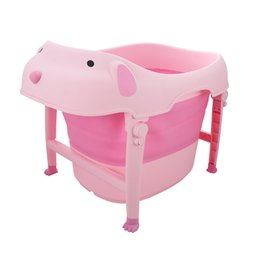 Wholesale Baby Plastic Bath Tub - Large Folding Children Baby Bath Tub Bath Tub Cute Bathtub Child Plastic Comfortable Baby Tubs Bath Shower Products Baby Care