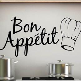 design delle piastrelle della cucina Sconti Bon Appetit Food Wall Stickers Cucina Decorazione della stanza Fai da te Vinile Casa Decalcomanie Arte poster carta da cucina Murale di arte spedizione gratuita