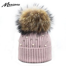 9ea0799dea4 New Wool Beanies Women Real Natural Fur Pom Poms Fashion Pearl Knitted Hat  Girls Female Beanie Cap Pompom Winter Hats for Women D18103006