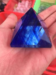 Wholesale dancing umbrella - Artificial crystal blue fused stone crystal, gold tower, Egyptian pyramid, conical triangular prism household decoration products, bulk sale