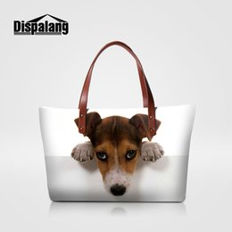 Wholesale Girls Jack - Cute Jack Russel Dog Printing Women's Handbags Brand Designer Animal Printing Pug Girls Totes Bags Ladies Top-handle Bag Female Beach Bags