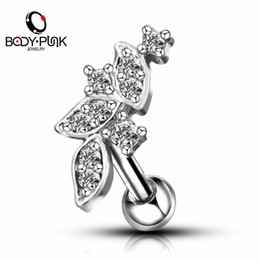 Perforación del cartílago de oro online-Body Punk 1 pc Silver Rose Gold With Clear 5A + CZ Leaf Shape Cartilage Pendientes Stud Helix Flat Earrings Body Piercing Jewelry