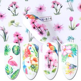 Pappagalli art online-1 pz Acqua Decalcomanie Nail Sticker Fiore Cursori Flamingo Pappagallo Uccello Giungla Involucri Decorazione Nail Art Manicure BEBN865-876