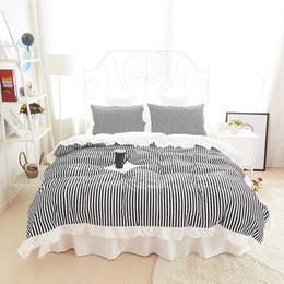 Wholesale Twin Size Ruffle Bedding - 2017 Fresh green stripe Korean bedding set bed skirt princess style 100%cotton girls Twin queen king size duvet covers linen