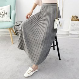 Wholesale Black Knit Skirt Suit - Knitted Sweater Pleated Skirt Long Robe Pull Noodles Winter Warm Homemade Women Underdress Lurex suit Snow Maiden 2018 Petticoat