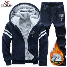 молодежные спортивные брюки Скидка Xijun Winter hoodies and Long pants Men Set -Clothing Sweatshirt Men Tracksuit Winter Fleece Hoody youth Sporting Suits