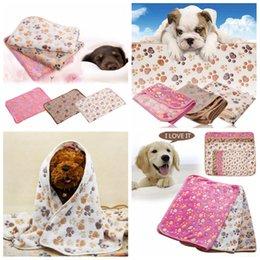 gatos impressos almofadas Desconto Pet Mat Paw Osso Impressão Cat Dog Filhote de cachorro de Lã Inverno Quente Cobertor Macio Cama Almofada Camas de Cão Esteira Almofadas de Dormir Pet Fornecedores FFA1218