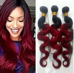 Tissage de cheveux humains bourgogne pas cher en Ligne-9A pas cher Pérou Bourgogne Cheveux Bundles Rouge Ombre Vierge cheveux humains Tissages Bundles foncé racine rouge