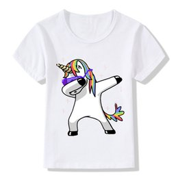 Wholesale Boys 3t Christmas - 2018 Children Dabbing Unicorn Cartoon T-Shirts Kids Summer Tops Girls Boys Short Sleeve T Shirt Rabbit Cat Baby Clothes,HKP2081