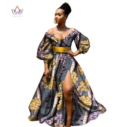Wholesale African Fabric Brown - 2018 african bazin dresses for women african Three Quarter sleeves dresses for women african clothing wax dashiki fabric WY2255