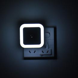 Wholesale Auto Plugs - Auto LED Light Induction Sensor Control Bedroom Night Lights Bed Lamp US Plug LED Night Lamp White Color Portable Night Light