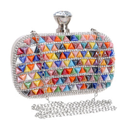 Wholesale Bohemian Purses - Colorful Ceramics Bohemian Style Crystal Evening Bags Metal Colorful Metal Rhinestones Party Small Day Clutches Purse