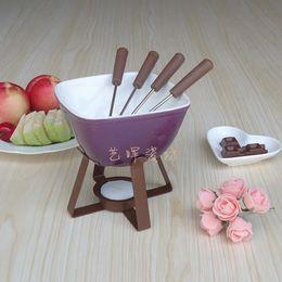 Eco Friendly 300 Ml Colorful Ceramic Fondue Set Cheese Warmer Chocolate Pot Square Fondue Pot For Icecream Fruit Bread Tool