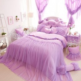 Wholesale Full Bedskirt - Purple butterfly lace pricess home bedding 4pcs set king size pink wedding duvet cover kit girls home sweet bedskirt marry gift