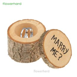 Wholesale personalized ring holder - 1set Rustic Wedding Ring Bearer Box Personalized Wedding Ring Box Decor Gifts Wooden Holder