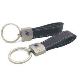 Wholesale leather case fashion logo - Fashion leather Metal CarM Logo Key Ring Chain BMW Tech M Case Key Holder