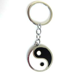 Застежки для ключей онлайн-1PCS Fashion Jewelry Antique Silver YIN YANG TAI CHI BALANCE HARMONY Clasp Key Chain Ring Accessories