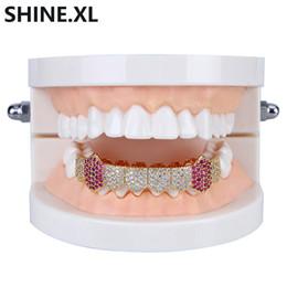 Золотые зубные грили онлайн-18K позолоченные зубы вампира Grillz обледенелый микро проложить кубический Циркон 8 зуб хип-хоп гриль нижней части тела ювелирные изделия