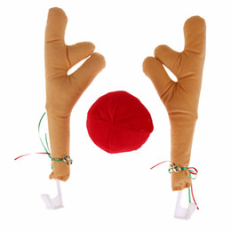 Wholesale merry christmas costume - 3pcs Set Merry Christmas Antlers Decoration for Car Truck Costume Antlers Red Nose Natal New Year Christmas Decorations for Home