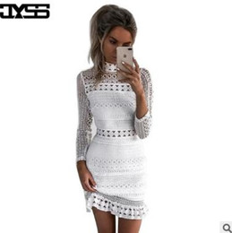 Wholesale High End Mini Dresses - Hot women's dresses Long-sleeved half-high collar lace splicing Slim dress high-end Apparel Clothing sexy white skirt
