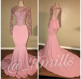 Wholesale Long White Dress Square - Pink Beaded Lace Mermaid Silhouette Prom Party Dresses 2018 Crew Neck Backless Long Sleeves Custom Made Evening Gowns