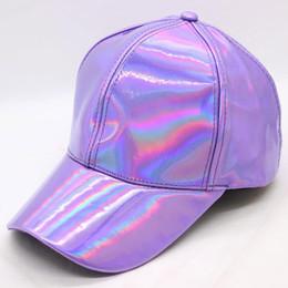 cappello d'oro viola Sconti Berretto da baseball in pelle arcobaleno PU Regolabile Snapback cappelli per uomo donna viola oro argento 6 pannelli Hip Hop Caps Dance Party Wear