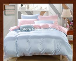 Wholesale black silk comforter sets - Luxury silk bedding set Blue Color 19MM 100% Mulberry Silk 4Pcs Duvet Comforter Cover Fied Sheet Pillowcases Bedding