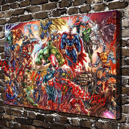 Wholesale Marvel Comic Cartoons - DC Universe and Marvel Comics , Canvas Pieces Home Decor HD Printed Modern Art Painting on Canvas (Unframed Framed)