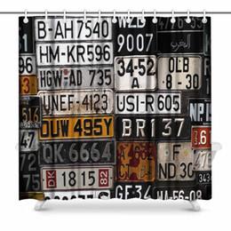 2019 alte haken Aplysia Verschiedene Old Car Nummernschilder aus der ganzen Welt im Museum Badezimmer Dekor Duschvorhang mit Haken günstig alte haken