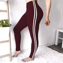 Hohe Taille Frauen Leggings Lässige Reine Farbe Sporthosen Damen Streifen Spleißen Dual Ring Druck Weibliche Yoga Fitness Hosen