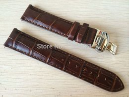 Wholesale Watch Leather Strap 19mm - 19mm (Buckle18mm) PRC200 T17 T41 T461 High Quality Silver Butterfly Buckle + Brown Genuine Leather Watch Bands Strap